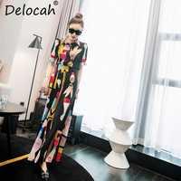 Delocah femmes été Vintage costumes piste styliste à manches courtes hauts et caractère imprimé élégant pantalon deux pièces ensemble