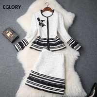 Diseñador de calidad superior conjuntos de ropa mujeres lana abalorios chaquetas trajes + lana caliente lápiz falda Conjunto elegante traje de negocios femenino conjunto