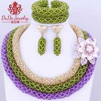 Último conjunto de joyas de Navidad de boda nigeriana Africana joyería de cristal austríaco indio colorido oro púrpura envío gratis