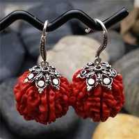 Cinabrio natural Pendientes s925 plata Pendientes tailandés Bodhi rojo tremella clavo nacional importado retro oído línea