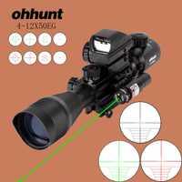 Ohhunt caza Airsofts Riflescope 4-12X50EG pistola de aire táctica rojo verde punto láser mira holográfica óptica Rifle alcance