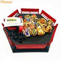 Oro estilo spin top explosión juguetes con lanzador de arranque y Arena de juguete Metal fusión Dios Spinning Top Blade Juguetes