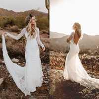 2019 vestidos de boda de sirena de campo rústico de manga larga de playa sin espalda bohemio de encaje nupcial vestido de novia bata de mariee de EE. UU.