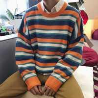 Suéter de los hombres de moda Casual primavera y otoño nueva M-XL Stripe O cuello salvaje suéter flojo azul naranja personalidad Juventud popular