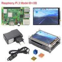 Raspberry Pi 3 B + Plus + Kit de iniciación a Raspberry Pi 3 + pantalla táctil de 3,5 pulgadas + 9-capa de acrílico + 2.5A fuente de alimentación + disipador de calor
