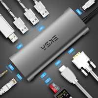 EKSA USB tipo C Hub/HDMI/RJ45 Gigabit Ethernet/VGA/lector de tarjetas/Thunderbolt 3 adaptador para Macbook Huawei P20 Pro USB 3,0 HUB