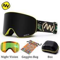 NANDN gafas de esquí gafas lente doble UV400 Anti-vaho adulto Snowboard gafas de esquí de las mujeres de los hombres de la nieve