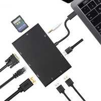 8 en 1 Tipo C a HDMI Rj45 1000 M Lan HDMI VGA USB Hub de Audio de 3,5 MM with SD lector de tarjetas USB 3,0 Cable de adaptador para Macbook