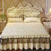 Tela de terciopelo estilo coreano princesa ropa de cama de encaje sábana fundas de almohada gruesa cubierta de cama caliente 1/3 pzas falda piezas de cama de invierno
