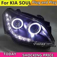 Coche estilo para KIA SOUL faros 2009-2013 SOUL LED faros del coche del ojo del Ángel led drl H7 hid Bi luz baja de la lente lámpara de cabeza