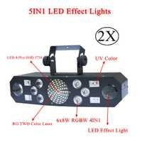 Nuevo 5IN1 DJ láser etapa de Luz Color RGB o 48 RG patrones proyector 4X3 W UV CREE LED de un solo Color de efecto de etapa de iluminación