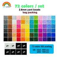 Yantjouet 2.6mm Yant perles 72 couleurs/ensemble noir blanc pour enfant Hama Perler perle bricolage Puzzles haute qualité fait main cadeau enfants jouet