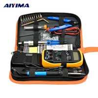 AIYIMA enchufe de la UE de 220 V 60 W soldador eléctrico Kit de multímetro ajustable temperatura Alambre de soldadura portátil herramienta de reparación