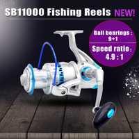 SB11000 4,5: 1 de alta velocidad de agua salada carrete de Pesca de Mar Grande carretes de pesca