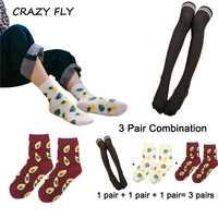 Mosca loca 3 pares mujeres muslo sobre la rodilla de algodón calcetines rayas calcetines de la rodilla de las mujeres de los hombres de fruta feliz calcetines 3 par combinación