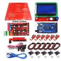 Reprap rampas 1.4 kit con mega 2560 R3 + heatbed mk2b + 12864 controlador LCD + DRV8825 + interruptor mecánico + Cables para 3D impresora