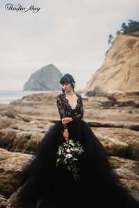 Vintage encaje Boho mangas largas gótico negro vestido de novia vestido de bola Sexy con cuello en V sin espalda de talla grande vestidos de boda de país ruso