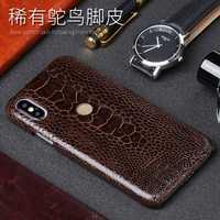 Natural avestruz piel teléfono caso para Xiao mi 5 6 8SE A1 A2 Max 2 mi x2S nota 5 caso rojo mi nota 3 4 4X5 5A Plus contraportada