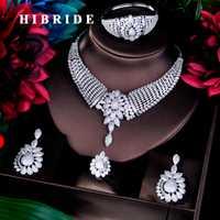 HIBRIDE gran forma de la flor de moda Dubai de conjuntos de joyas para las mujeres de la boda accesorios de la joyería de AAA Cubic Zirconia conjuntos N-779