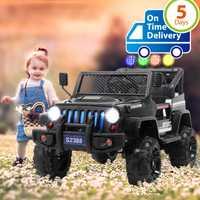 Uenjoy enfants électriques monter sur les voitures 12 V batterie véhicules motorisés avec Suspension de roues, télécommande, MP3, lumières, noir