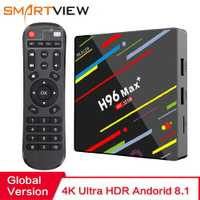 H96 MAX Plus caja de TV inteligente Android 8,1 TVBox 4 GB de Ram 32 GB/64 GB Rom Rockchip RK3328 4 K H.265 USB3.0 2,4 Ghz WiFi IP TV Set Top Box