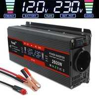 1500 W/2000 W/2600 W onduleur à onde sinusoïdale modifiée affichage LCD DC 12 V à AC 220 V solaire 2 USB transformateur de voiture convertir prise EU