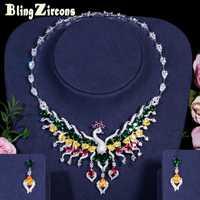 BlingZircons lujo Multicolor Cubic Zircon Crystal gran Pavo Real boda de Nigeria traje nupcial conjuntos de joyas para mujeres JS168