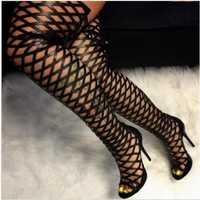 DiJiGirls sandalias romanas mujeres sobre la rodilla botas altas fetiche señora Med Stiletto botas Sexy corte fuera gladiador Zapatos mujer