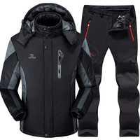 Traje de esquí traje de los hombres de esquí y Snowboard juegos Super caliente impermeable a prueba de viento Snowboard chaqueta de lana chaqueta + pantalón de invierno trajes de nieve hombre