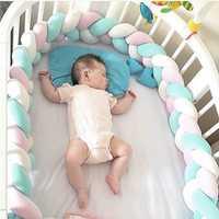 200 cm de longitud cama de bebé parachoques bebé almohada cojín de tejido de peluche bebé cuna Protector para los recién nacidos, decoración de la habitación de bebé