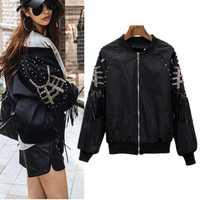 Primavera otoño chaqueta de moda de las mujeres Collar de béisbol Chaquetas de La Rock borlas remaches chaqueta abrigo Chaquetas Mujer NS462