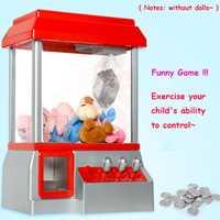 Venta caliente niños música caramelo Grabber moneda operado juego muñeca máquina de Arcade garra regalos sin Juguetes
