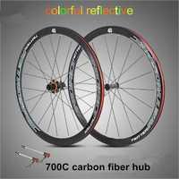 Ultra-luz de fibra de carbono de 700C rueda de bicicleta de carretera 40 cm RUEDAS 4 rodamiento sellado llantas de aleación de colores reflectantes las ruedas