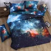 Juegos de cama 3d Galaxy tamaño doble/reina universo espacio exterior temática colcha 3 piezas/4 piezas ropa de cama juego de sábanas de edredón
