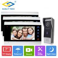 7 pulgadas Wired Home Video intercomunicador puerta teléfono Monitor para casa puerta acceso de seguridad sistema de entrada con 3 LCD interior pantalla