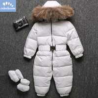 -30 grados bebé trajes pantalones de piel Real de mapache niños monos de invierno traje de esquí traje de pato blanco abajo niños niñas Outwear ropa 2019