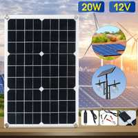 Kinco Panel Solar 12 V 20 W USB Panel Solar monocristalino con cargador de coche para acampar al aire libre luz de emergencia impermeable