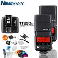 2 * godox TT350C 2.4g HSS GN36 TTL mini flash speedlite inalámbrico + X1T-C transmisor para Canon EOS 800D 650D 600D 750D 77D M5 M3