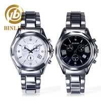 BINLUN 2019 reloj de pulsera de cuarzo de lujo para hombre, acero de tungsteno, resistente al agua y a los arañazos, relojes negros para hombre para regalo