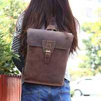 Mochila de Mujeres de moda Caballo loco de cuero genuino de mujer bolsos de hombro bolsas para la escuela de niñas regalo bolsas de viaje Blosa femenina
