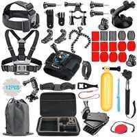 Kit de accesorios GoPro para Go Pro Hero7 6 5 correa de pecho funda de transporte flotante tornillo de agarre de mano 53 in 1 Juego para Cámara de Acción