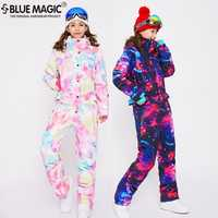 Combinaison de ski bleu magique imperméable à l'eau une pièce combinaison de ski femmes snowboard-30 degrés combinaison de ski de neige combinaison de vêtements d'hiver
