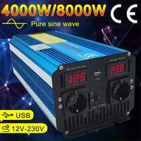 Pantalla LED Dual 8000 W inversor de potencia de onda sinusoidal pura DC 12 V/24 V a CA 220 V /230 V/240 V con 3.1A USB doble Enchufe europeo