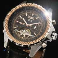 Reloj mecánico automático de diseño Tourbillon de lujo Reloj de pulsera de cuero genuino de moda para hombre