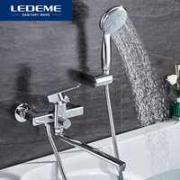 LEDEME ducha grifo de latón baño bañera grifo de ducha baño grifo cromado ducha de la pared de cabeza de grifo mezclador L2233