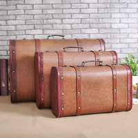 Funda de cuero Vintage ventana Europea Pantalla de Decoración Retro traje de madera caja de almacenamiento de ropa caja de equipaje accesorios de fotografía