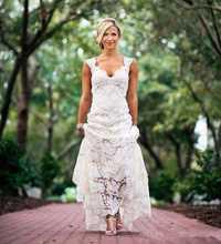 Chic rústico completo encaje vestidos de novia baratos cuello en V espalda abierta barrido tren Boho vestido de novia para jardín hecho a medida estilo de país nuevo