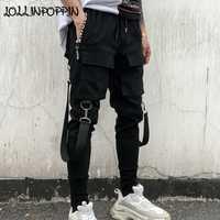 Streetwear hombres negro Harem pantalones elástico cintura pantalones Punk con cintas Street Dance basculador pantalones Hip Hop pantalones Multi bolsillos