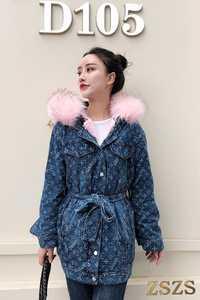 Durante mucho tiempo, las mujeres acolchado print denim Chaquetas de abrigo de invierno
