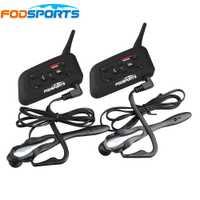 2 piezas V6 Pro BT Interphone inalámbrica Bluetooth Headset traje para árbitro de fútbol juez bicicleta conferencia de música estéreo